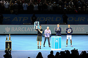 Raised view of Andy Murray (Great Britain) celebrating and lifting the Championship Trophy during the final of the Barclays ATP World Tour Finals at the O2 Arena, London, United Kingdom on 20 November 2016. Photo by Phil Duncan.