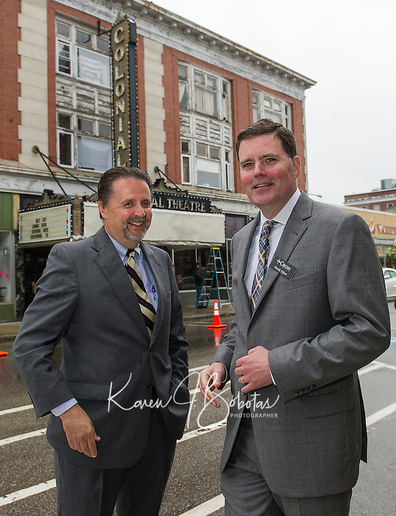 Mayor Ed Engler and Randy Eifert Vice Chair BEDC on Main Street following the press conference announcing the purchase of the Colonial Theater in downtown Laconia.  (Karen Bobotas/for the Laconia Daily Sun)