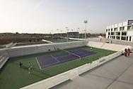 Rafa Nadal Academy in Manacor, Mallorca, Blick auf den Centre Court, im Hintergrund die Schule,<br /> <br />  - Rafa Nadal Academy -  -  Rafa Nadal Academy - Manacor - Mallorca - Spanien  - 24 October 2016. <br /> &copy; Juergen Hasenkopf