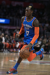 March 8, 2019 - Los Angeles, California, United States of America - Dennis Schroder #17 of the Oklahoma Thunder  during their NBA game with the Los Angeles Clippers on Friday March 8, 2019 at the Staples Center in Los Angeles, California. Clippers defeat Thunder, 118-110.  JAVIER ROJAS/PI (Credit Image: © Prensa Internacional via ZUMA Wire)