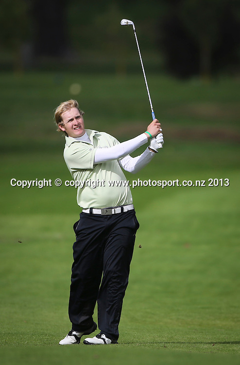 Defending champion, Vaughan McCall on the first day of the 2013 New Zealand Amateur Championship, Manawatu Golf Club, Palmerston North, New Zealand. Wednesday 24 April 2013. Photo: John Cowpland / photosport.co.nz