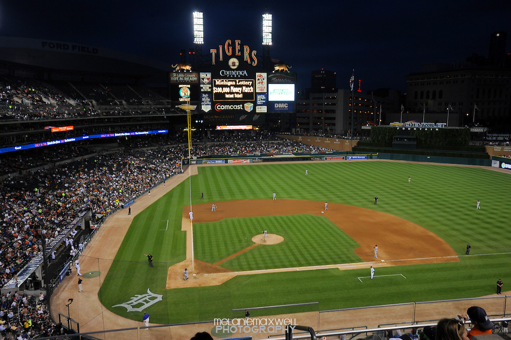 Players on the field at Comerica Park on June 15, 2010 in Detroit, Michigan.