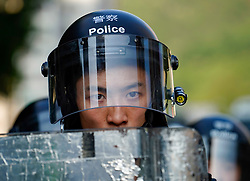 Tuen Mun, Hong Kong. 22 September 2019. Pro democracy demonstration and march through Tuen Mun in Hong Kong. Marchers protesting against harassment by sections of the pro Beijing community. Largely peaceful march had several violent incidents with police using teargas. Several arrests were made. Pictured; Riot policeman.  Iain Masterton Live News.