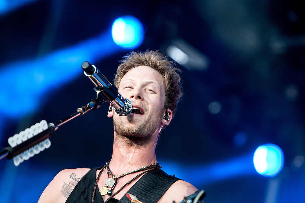 Brian Kelley of Florida Georgia Line performs at the Luke Bryan Kick The Dust Up Tour at TCF Bank Stadium in Minneapolis June 20, 2015.