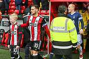 Billy Sharp of Sheffield United (10) leads out the teams during the EFL Sky Bet Championship match between Sheffield United and Nottingham Forest at Bramall Lane, Sheffield, England on 17 March 2018. Picture by Mick Haynes.