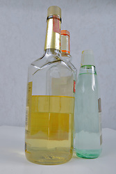 Food and Drink industry: alcohol, hard liquor in a bottle with a cap or stopper.