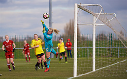 LIVERPOOL, ENGLAND - Sunday, February 4, 2018: Watford's goalkeeper Fran Kitching makes a save during the Women's FA Cup 4th Round match between Liverpool FC Ladies and Watford FC Ladies at Walton Hall Park. (Pic by David Rawcliffe/Propaganda)