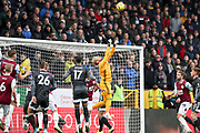 Leicester City goalkeeper Kasper Schmeichel make a save  during the Premier League match between Burnley and Leicester City at Turf Moor, Burnley, England on 19 January 2020.