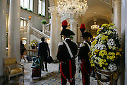 Carabinieri (Italian police) at the hall of Grand Hotel Villa d'Este during the annual Ambrosetti Workshop in Cernobbio, September 4, 2011. © Carlo Cerchioli