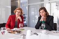 15 OCT 2019, BERLIN/GERMANY:<br /> Katja Kipping (L), Die Linke, Prteivorsitzende, und Katrin Goering-Eckardt (R), B90/Gruene, Fraktionsvorsitzende, wahrend einem Doppeninterview, Hauptstadtredaktion Rheinsche Post<br /> IMAGE: 20191015-01-001<br /> KEYWORDS: Göring-Eckardt