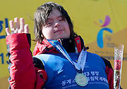Polish athlete Sabina Czernic with her medal after Alpine Intermediate Super Gigant during 2013 Special Olympics World Winter Games PyeongChang at Yongpyong Resort on February 2, 2013...South Korea, PyeongChang, February 2, 2013..Picture also available in RAW (NEF) or TIFF format on special request...For editorial use only. Any commercial or promotional use requires permission...Photo by © Adam Nurkiewicz / Mediasport
