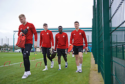 NEWPORT, WALES - Thursday, March 21, 2019: Wales' Niall Clayton, Rhys Davies, Momodou Touray and Ryan Sears during an Under-21 training session at Dragon Park. (Pic by David Rawcliffe/Propaganda)