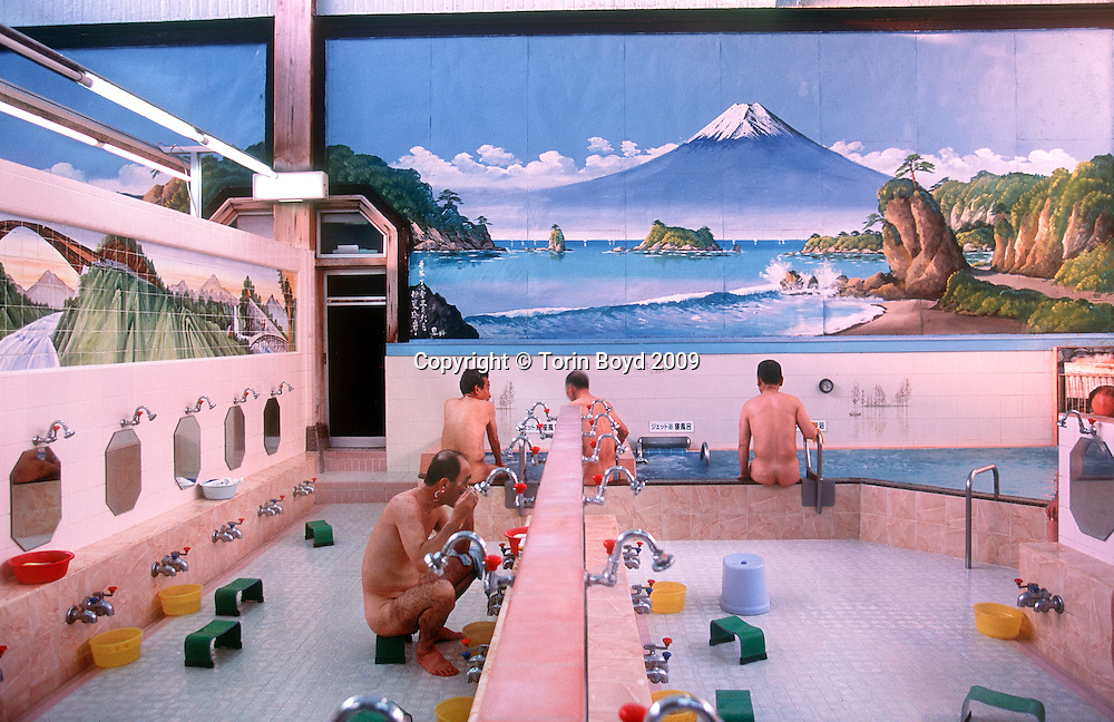 """2001, Tokyo, Japan: Afternoon regulars at Daikoku-yu, a traditional style Japanese bathhouse or """"sento"""", which are fading from Japanese culture.. Credit: Torin Boyd / Torin Boyd/Polaris Images"""