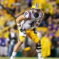 Sep 21, 2013; Baton Rouge, LA, USA; LSU Tigers tight end Travis Dickson (41) against the Auburn Tigers during the second half of a game at Tiger Stadium. LSU defeated Auburn 35-21. Mandatory Credit: Derick E. Hingle-USA TODAY Sports