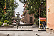 The statue of Juan del Jarro and fountain in the Guerrero Garden in the state capital of San Luis Potosi, Mexico. The sculpture by artist by Mario Cuevas, represents Juan del Jarro, who was a beggar, clairvoyant and popular philosopher.