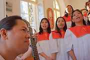 Israel, Jaffa, The Saint Anthony Catholic Church on Yefet Street. A group of Filipino labour immigrants in the choir during service