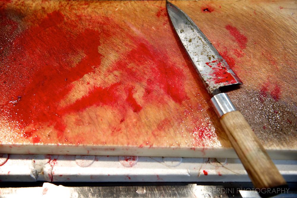 One of the incredibly sharp knives used by fishmongers. Tsukiji  Market. Tokyo, Japan 2013.