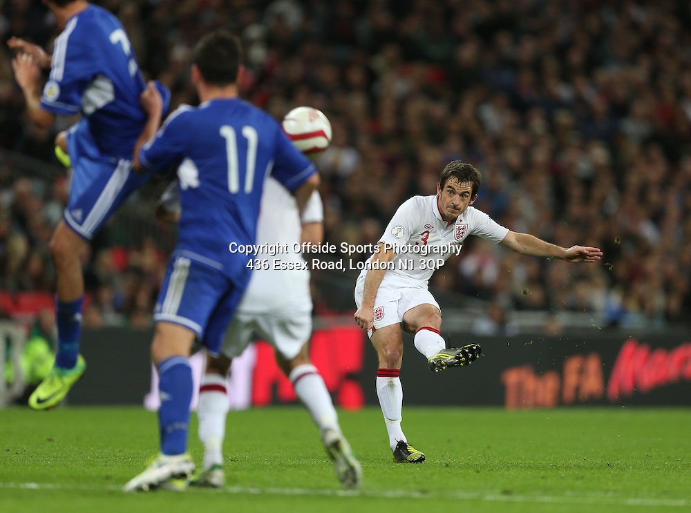 12 October 2012 Football International. England v San Marino.<br /> Leighton Baines curls a free kick wide of the goal.