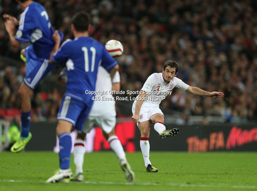 12 October 2012 Football International. England v San Marino.<br /> Leighton Baines curls a free kick wide of the goal.