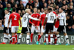 Darren Bent of Derby County and Damien Perquis of Nottingham Forest confront each other head to head - Mandatory by-line: Robbie Stephenson/JMP - 11/12/2016 - FOOTBALL - iPro Stadium - Derby, England - Derby County v Nottingham Forest - Sky Bet Championship