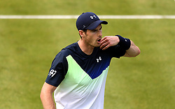 Great Britain's Andy Murray reacts during day two of the Fever-Tree Championship at the Queens Club, London. PRESS ASSOCIATION Photo. Picture date: Tuesday June 19, 2018. See PA story TENNIS Queens. Photo credit should read: Steven Paston/PA Wire. RESTRICTIONS: Editorial use only, no commercial use without prior permission.