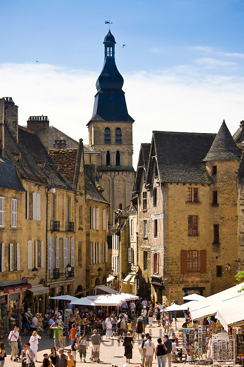 Centre Ville, tourists in the popular picturesque tourist destination of Sarlat in the Dordogne, France