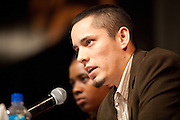 Rafael Flores answers questions about the Youth Uprising program based in Oakland, Calif., at the Human Rights Lecture in the Barrett Ballroom at San Jose State University, San Jose, Calif., on March 21, 2012.  Photo by Stan Olszewski