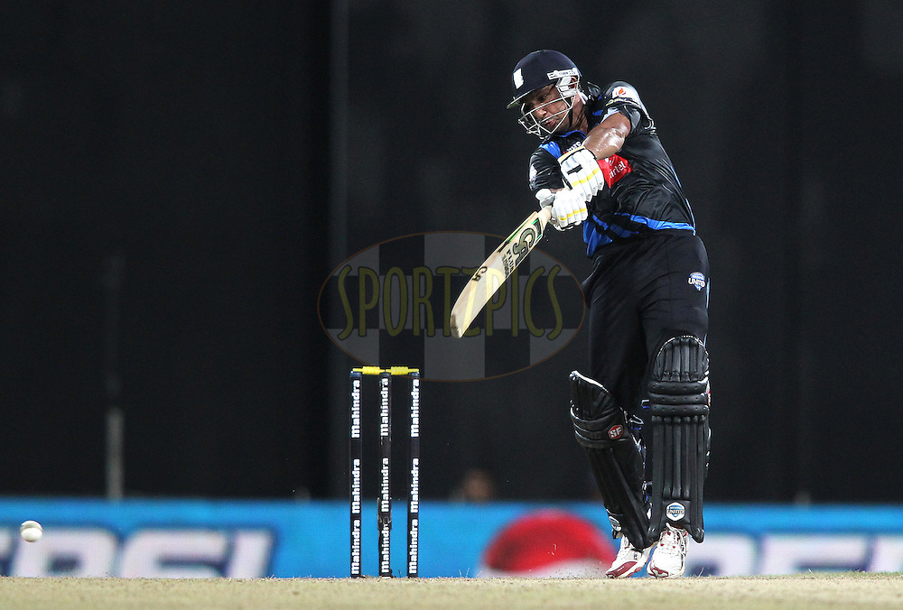 Azhar Mahmood of Wayamba United attacks a delivery during the first Semi Final Match of the Sri Lankan Premier League between Uva Next and Wayamba United held at the Premadasa Stadium in Colombo, Sri Lanka on the 28th August 2012. .Photo by Shaun Roy/SPORTZPICS/SLPL
