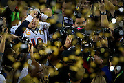 Peyton Manning is surround by media and gold confetti after winning Super Bowl 50 Sunday, February 7, 2016 in Santa Clara, CA.