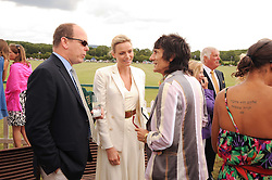 Asprey World Class Cup polo held at Hurtwood Park Polo Club, Ewhurst, Surrey on 17th July 2010.<br /> Picture shows:- PRINCE ALBERT OF MONACO, CHARLENE WITTSTOCK, RONNIE WOOD.