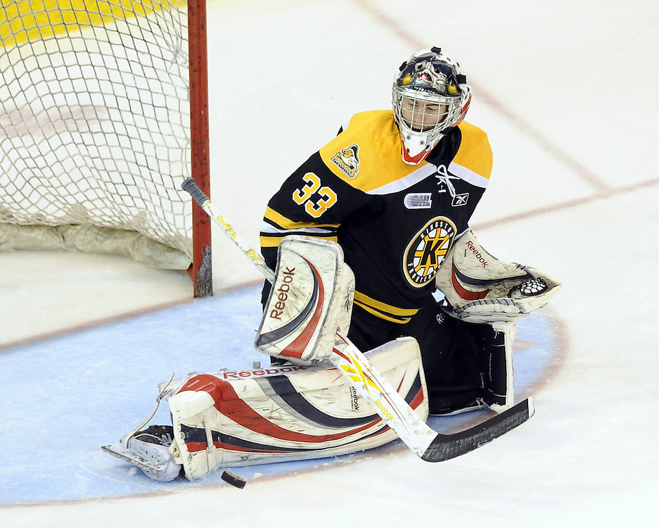 Philipp Grubauer of the Kingston Frontenacs.Photo by Aaron Bell/OHL Images