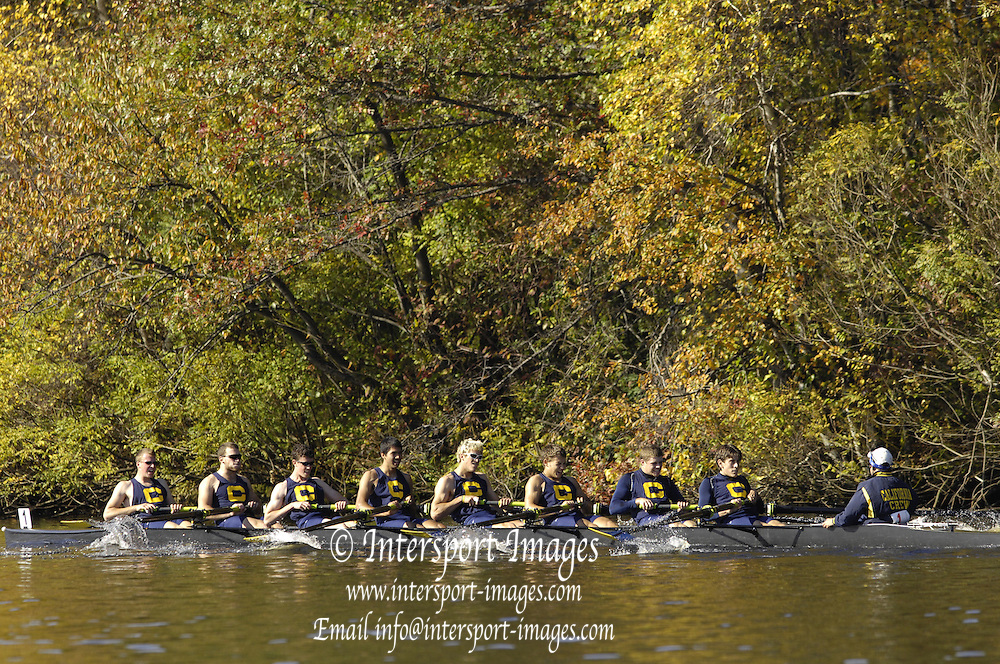 Boston, Massachusetts, Youth Men's Eights, move up the course passing the Eliot Bridge, Belmont Hill's Winsor Boat House, towards the finish, at the Forty Second, [42nd] Head of the Charles, 22/10/2006.  Photo  Peter Spurrier/Intersport Images...[Mandatory Credit, Peter Spurier/ Intersport Images] Rowing Course; Charles River. Boston. USA