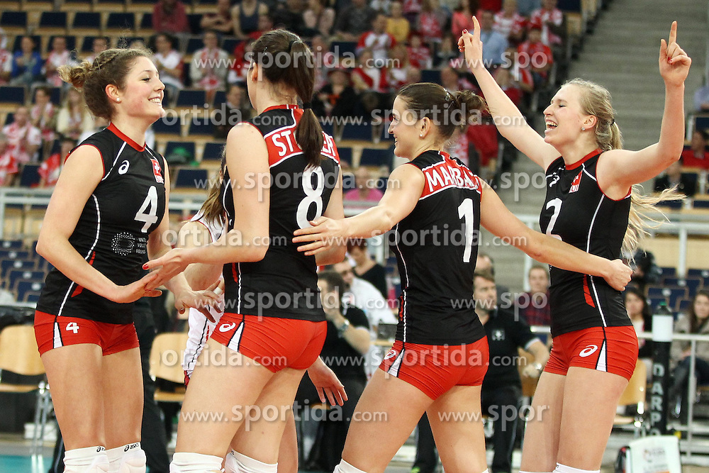 05.01.2014, Atlas Arena, Lotz, POL, FIVB, Damen WM Qualifikation, Polen vs Spanien, im Bild TABEA DALLIARD ELENA STEINEMANN SANDRA STOCKER KRISTEL MARBACH RADOSC EMOCJE // TABEA DALLIARD ELENA STEINEMANN SANDRA STOCKER KRISTEL MARBACH RADOSC EMOCJE during the ladies FIVB World Championship qualifying match between Switzerland and Spain at the Atlas Arena in Lotz, Poland on 2014/01/05. EXPA Pictures &copy; 2014, PhotoCredit: EXPA/ Newspix/ Maciej Goclon<br /> <br /> *****ATTENTION - for AUT, SLO, CRO, SRB, BIH, MAZ, TUR, SUI, SWE only*****