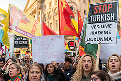 © Licensed to London News Pictures. 05/11/2016. London, UK. Thousands of Turkish demonstrators march from Portland Place to Trafalgar Square carrying banners and placards protesting against Turkish President Erdogan's regime. Photo credit : Stephen Chung/LNP