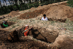 Uzbek men dig the graves, preparing to bury the victims of the ethnic clashes in Osh, Kyrgyzstan, 15 June 2010. According to media reports 176 people were killed and 1700 wounded during the ethnic clashes in Kyrgyzstan during past days.