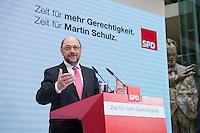 30 JAN 2017, BERLIN/GERMANY:<br /> Martin Schulz, SPD, Kanzlerkandidat und designierter Parteivorsitzender, waehrend einer Pressekonferenz nach der Klausurtagung der SPD Spitze, Willy-Brandt-Haus<br /> IMAGE: 20170130-01-002