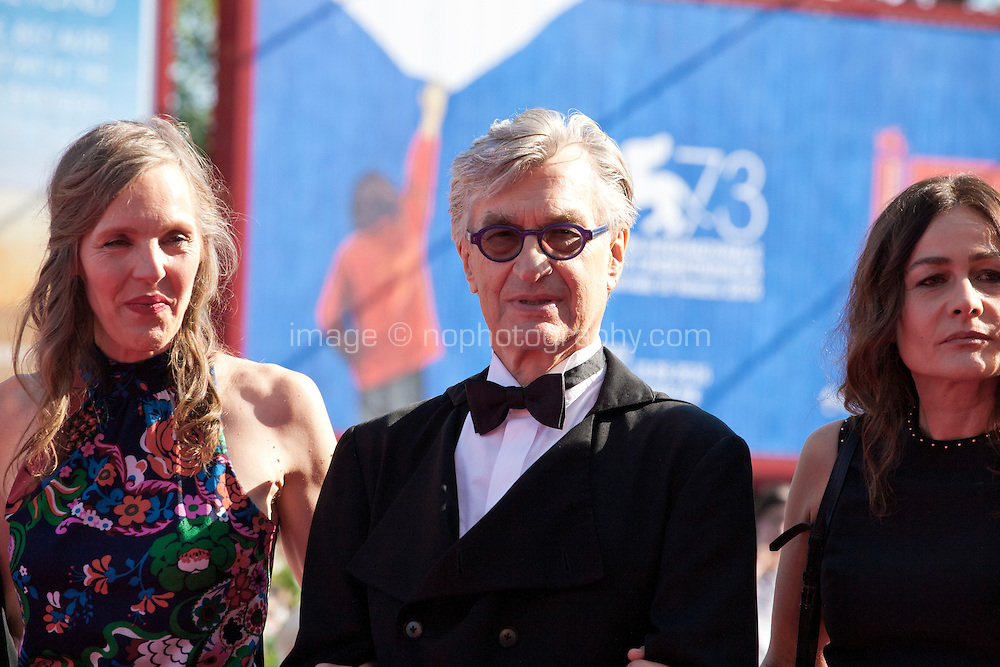 Donata Wenders, director Wim Wenders, Sophie Semin at the premiere of the film Les Beaux Jours d'Aranjuez (The Beautiful Days of Aranjuez) at the 73rd Venice Film Festival, Sala Grande on Thursday September 1st 2016, Venice Lido, Italy.