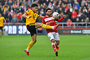 Morgan Gibbs-White (17) of Wolverhampton Wanderers steals the ball away from Jay Dasilva (3) of Bristol City during the The FA Cup 5th round match between Bristol City and Wolverhampton Wanderers at Ashton Gate, Bristol, England on 17 February 2019.