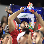 Haiti fans cheer on their team during the Haiti V Honduras CONCACAF Gold Cup group B football match at Red Bull Arena, Harrison, New Jersey. USA. 8th July 2013. Photo Tim Clayton