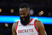 April 30, 2019; Oakland, CA, USA; Houston Rockets guard James Harden (13) reacts against the Golden State Warriors during the second quarter in game two of the second round of the 2019 NBA Playoffs at Oracle Arena.