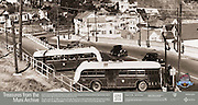 Trolley Coaches Passing One Another at Switchback on Market and Clayton Streets | October 12, 1935