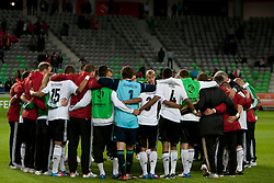 Team Germany after trophy ceremony after winning the UEFA European Under-17 Championship Final match between Germany and Netherlands on May 16, 2012 in SRC Stozice, Ljubljana, Slovenia. Netherlands defeated Germany after penalty shots and became European Under-17 Champion 2012. (Photo by Urban Urbanc / Sportida.com)