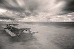 A fall storm seen in infrared over Presque Isle state park in Erie, Pennsylvania.