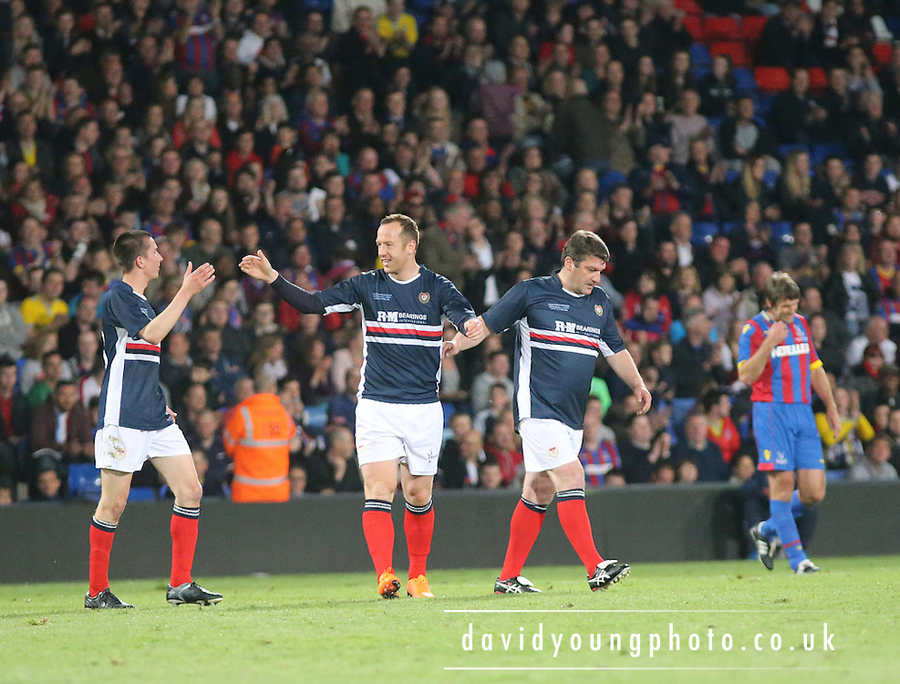 Fellow Dundee fan Cammy Kerr and  former Dee Giorgi Nemsadze congratulate Charlie Adam on his goal- Crystal Palace v Dundee - Julian Speroni testimonial match at Selhurst Park<br /> <br />  - &copy; David Young - www.davidyoungphoto.co.uk - email: davidyoungphoto@gmail.com