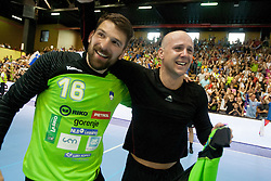 Primoz Prost and Gorazd Skof of Slovenia after handball match between National teams of Slovenia and Hungary in play off of 2015 Men's World Championship Qualifications on June 15, 2014 in Rdeca dvorana, Velenje, Slovenia. Photo by Urban Urbanc / Sportida