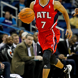 January 29, 2012; New Orleans, LA, USA; Atlanta Hawks point guard Jannero Pargo (7) against the New Orleans Hornets during a game at the New Orleans Arena. The Hawks defeated the Hornets 94-72.  Mandatory Credit: Derick E. Hingle-US PRESSWIRE