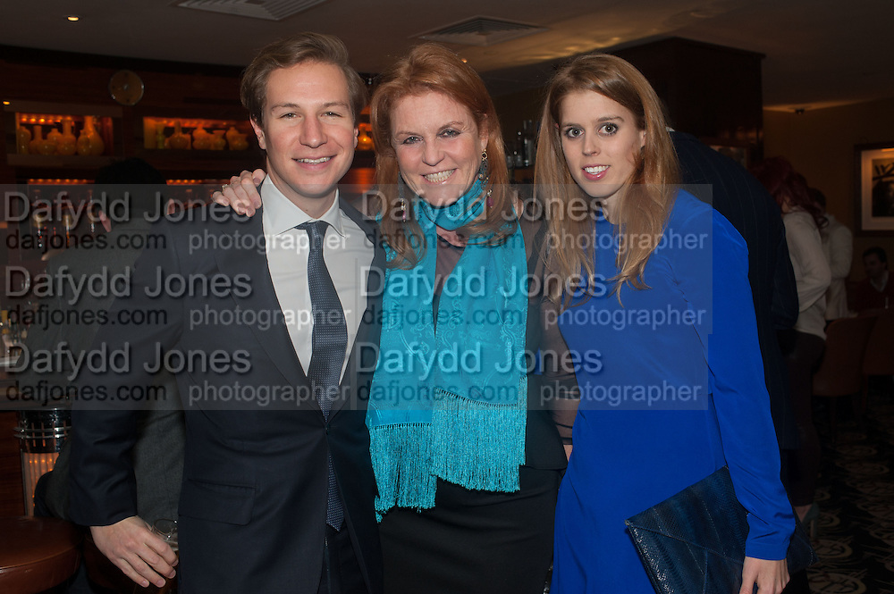 DAVE CLARKE; THE DUCHESS OF YORK; PRINCESS BEATRICE OF YORK, Chinese New Year dinner given by Sir David Tang. China Tang. Park Lane. London. 4 February 2013.