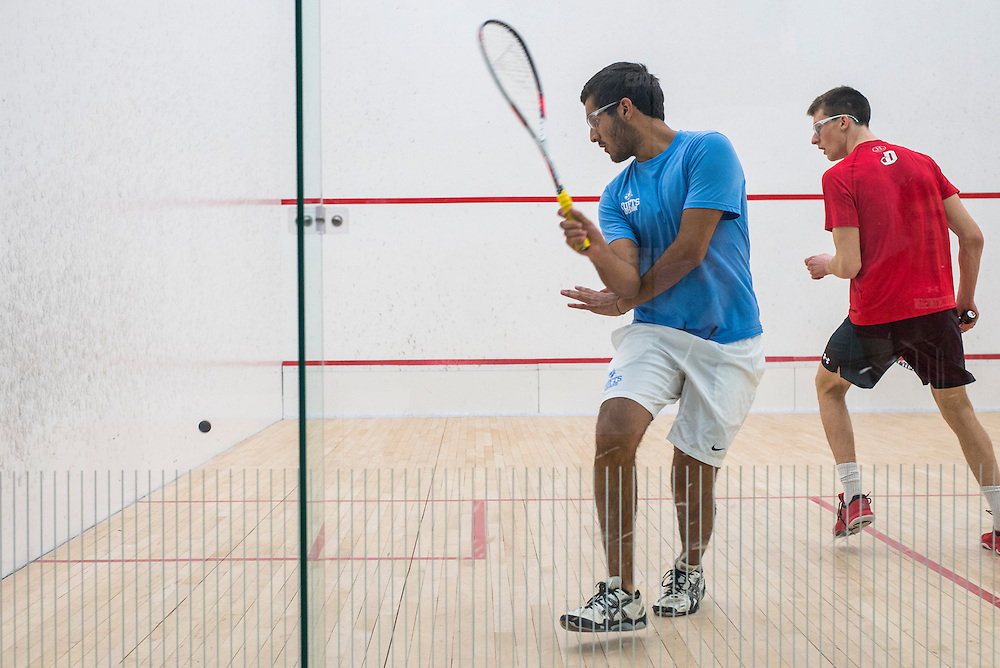 2017/01/20 - Cambridge, MA - Raghav Kumar swings at the ball in a match against Dickonson at Harvard's Murr Center on Friday, Jan 20, 2016. (Ray Bernoff / The Tufts Daily Archives)