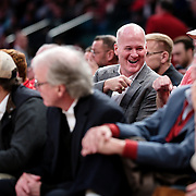 January 9, 2018, New York, NY : St. John's fans celebrate a basket as they watch from the sidelines during Tuesday night's matchup between the Hoyas and Red Storm at the Garden. In something of a rematch of their 1985 contest, Basketball greats Patrick Ewing and Chris Mullin returned to Madison Square Garden on Tuesday night to face off as coaches with their respective Georgetown and St. John's teams.  CREDIT: Karsten Moran for The New York Times
