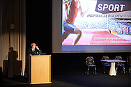 WARSAW, POLAND - APRIL 23: Dr Krzysztof Zuchora - lecturer of Jozef Pilsudski University of Physical Education in Warsaw (AWF Warszawa) and Polish Olympic Committee speaks during science conference The Day of Sport at National Library on April 23, 2016 in Warsaw, Poland.<br /> <br /> Picture also available in RAW (NEF) or TIFF format on special request.<br /> <br /> Any editorial, commercial or promotional use requires written permission from the author of image.<br /> <br /> Adam Nurkiewicz declares that he has no rights to the image of people at the photographs of his authorship.<br /> <br /> Mandatory credit:<br /> Photo by © Adam Nurkiewicz / Mediasport
